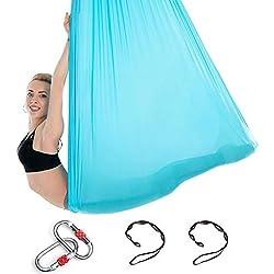 Himifuture 5m de Long, 3m de Large, Le Yoga, Le Flying Aerial-Yoga Balancelle Hamac en Soie Tissu avec Mousqueton et Daisy Chain pour Le Yoga Anti-gravité Pilates