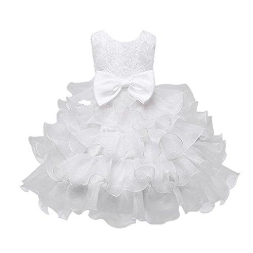 Prinzessin Kleid Kinder, DoraMe Baby Mädchen Rose Bowknot Party Kleid Geburtstag Hochzeit Brautjungfer Pageant Formal Pompon Kleid für 0-10 Jahr (Weiß, 5 Jahr) Jungen Weißen Und Schwarzen Kleid Schuhe