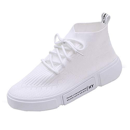 VJGOAL Damen Freizeitschuhe, Damen Mädchen Mesh Atmungsaktive Runde Toe Lace-up Sneakers beiläufige laufende Sport Breathable Segeltuch-Schuhe (Weiß, 38 EU)