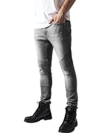 Urban Classics Herren und Jungen Jeanshose Slim Fit Biker Jeans, Five-Pocket Stretch Biker Hose im Used Look