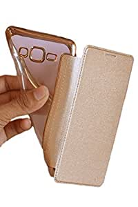 TECHILUV™ Gold Crome Soft TPU TransParent Back Cover With Leather Flip Cover For- SAMSUNG GALAXY ON 5 PRO, Golden