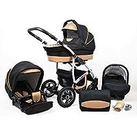 Cochecito de bebe 3 en 1 2 en 1 Trio Isofix silla de paseo New L-Go by SaintBaby negro & beis 3in1 con Silla de coche