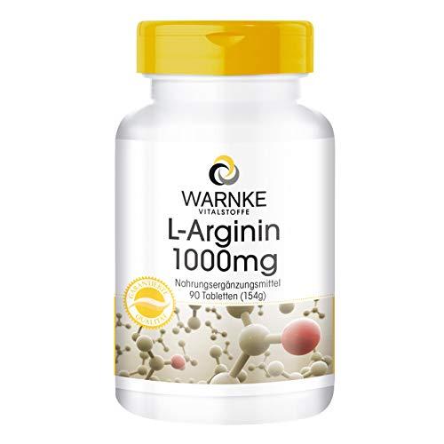 L-Arginina 100mg de Warnke productos para la salud - 90 pastillas- sustancia pura   Dosis diaria recomendada:  Adultos, tomar entre 1 y 3 comprimidos distribuidas en las comidas con abundante agua.  Un comprimido contiene:  1000mg de L-Arginina Ingre...