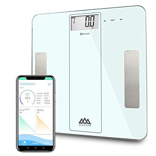 SENSSUN Smarte Körperfettwaage Bluetooth Personenwaage mit APP, Digitale Waage, Körperaufbau-Analyse für Körperfett, BMI, Gewicht, Muskelmasse, Wasser, Protein, Knochengewicht, BMR,Weiß