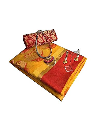 Fabattic Women's Tassar Silk Saree With Blouse Piece (Chi142, Yellow & Orange...