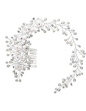 Tiara Diadem Blumen Krone Krönchen Strass Haarschmuck Stirnschmuck Blüten Braut Hochzeit