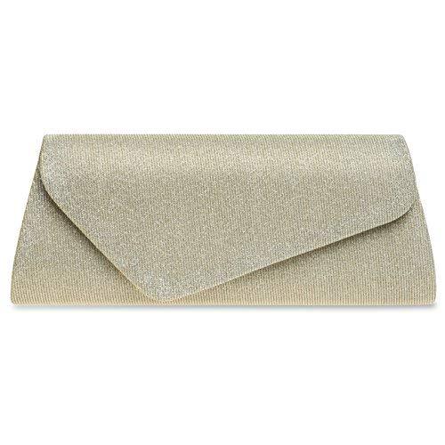 CASPAR TA394 Damen elegante Glitzer Stoff Baguette Clutch Tasche/Abendtasche mit langer Kette, Farbe:champagner;Größe:One Size