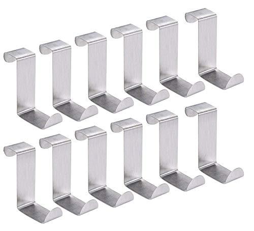 Para encima de la puerta ganchos Perchero de pared de colgadores de puerta de, soportes para armario puerta de armario organizador, ahorro de espacio para cocina baño dormitorio, acero inoxidable (12piezas)