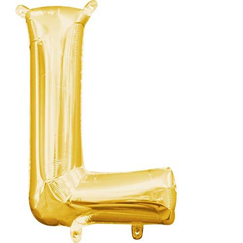 amscan 3303511 Folienballon Minishape Buchstabe L, Gold