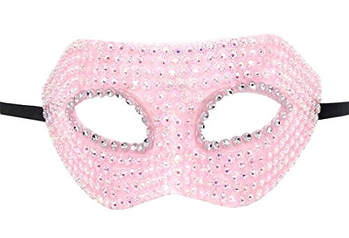 Flywife Damen Maskerade Maske Bling Glänzend Strass Halloween Kostüme Party Mardi Gras Karneval Maske (Rosa)