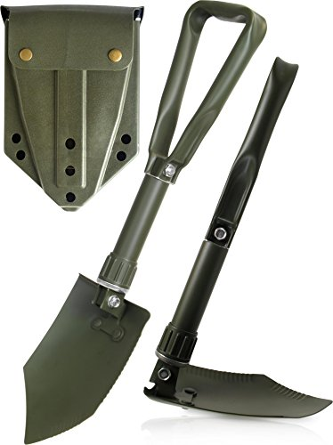 EXTRA STABIL - BW Klappspaten mit Tasche oliv - grün, vglb. Bundeswehr / US Army Militär Schaufel / Feldspaten / Spaten aus Carbonstahl / Stahl - Ideal für Outdoor, Camping, Survival und Jagd