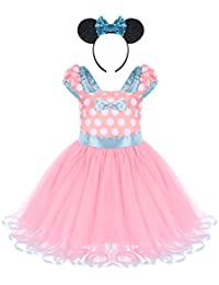 Infant Baby Toddlers Girls Christmas Polka Dots Leotard Birthday Princess Bowknot Tutu Dress Xmas Cosplay Pageant Cute Mouse Dress up Fancy Costume Party Outfits with 3D Ears Headband 0-8 Years