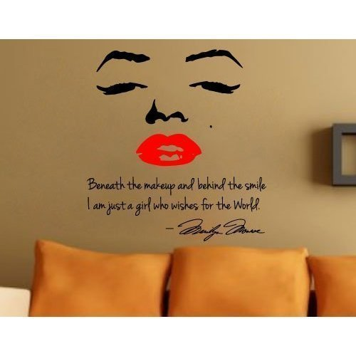 Marilyn Monroe Face And Red Lip With Quote Wall Sticker Art Decor Girlu0027s  Bedroom Wall Decal Decor Gilru0027s Birthday Gift: Amazon.co.uk: Kitchen U0026 Home Part 61