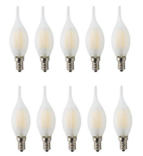 10er Pack, Dimmable AC 220V E14, LED Filament Glühfaden Fadenlampe Glühlampe, 6W LED Matt Kerzen Glühbirnen, 60W Glühlampen Ersatz, 360°Abstrahlwinkel, Warmweiß - Antiquitäten, Kristall-kronleuchter