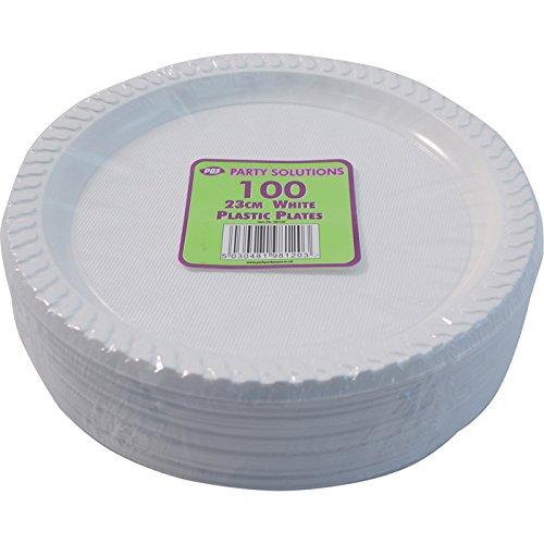 100 blanco de plástico - 22,86 cm/23 cm platos de calidad y resistente ideal para preparaciones calientes y alimentos fríos y blanco