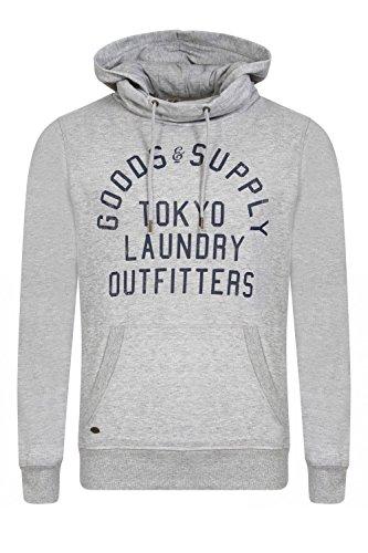 Uomini Tokyo lavanderia con collo ad anello con cappuccio Felpa pullover in pile Franklin Valle, grigio chiaro Marl, XL