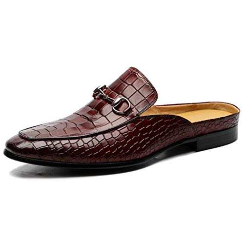 KDJFHD Herren Pantoffeln Clog Pantoffeln Atmungsaktiv Stanzen Leder Slip On Schuhe Casual Loafers Fashion Half Slippers Sommer Herrenschuhe-brown-41 - Software Inventory Business
