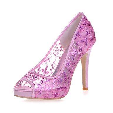 Wuyulunbi@ Scarpe donna Paillette Primavera Estate della pompa base scarpe matrimonio Stiletto Heel Peep toe per la festa di nozze & Sera Bianco Rosso luce rosa Rosa