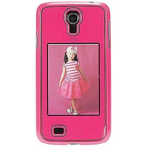 Bling Shimmering protettiva posteriore dura della copertura di caso con la foto che mostra Slot per Samsung Galaxy i9500 S4 (Red)