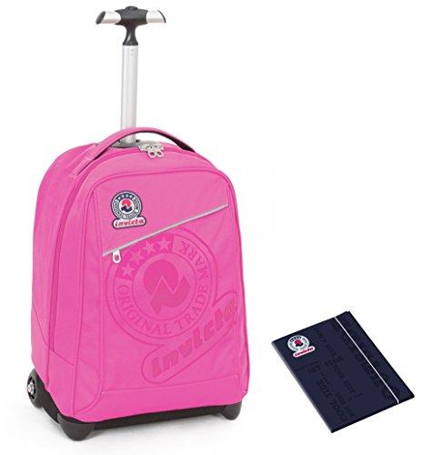 Trolley invicta + cartellina a4 - rosa - spallacci a scomparsa! zaino 35 lt scuola e viaggio
