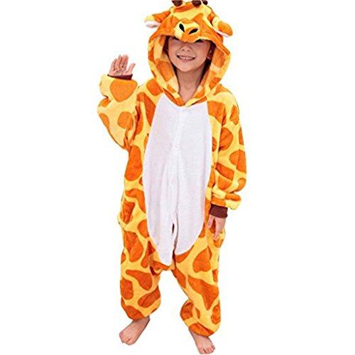 Tier Kostüme Schlafanzug Mädchen Jungen Winter Nachtwäsche Tieroutfit Cosplay Jumpsuit giraffe Körpergröße 125-134cm (Giraffe Kind Kostüme)