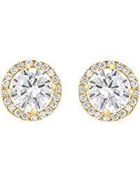 Carissima Gold Women's 9 ct Gold Round Cubic Zirconia and Pave Set 9 mm Stud Earrings