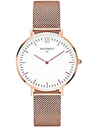 DISTRICT London Elegance Edition Women's Watch - Ultra Thin Women's Stainless Steel Mesh Band Rose Gold Wristwatch Quartz Luxury Simple Casual Design White Dial Fashion Dress Watches for Ladies