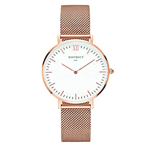 - 41WJ6NRWgqL - DISTRICT London Elegance Edition Women's Watch – Ultra Thin Women's Stainless Steel Mesh Band Rose Gold Wristwatch Quartz Luxury Simple Casual Design White Dial Fashion Dress Watches for Ladies