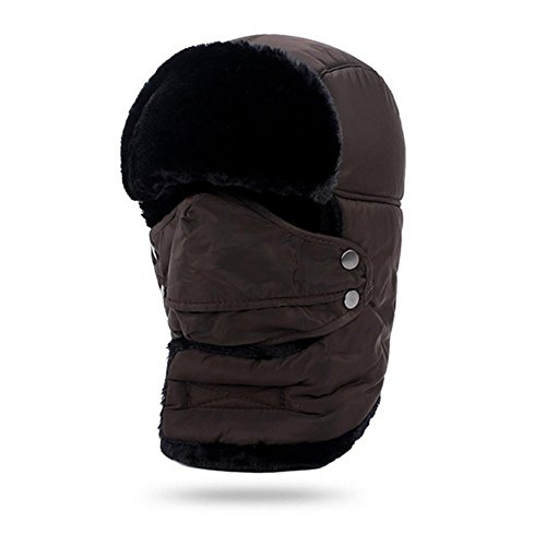YANXH Die neue Lei Feng Cap Männer und Frauen Winter Ride Auto Winddichte Hut Dicker Masken Keep Warm Train Head Cotton Cap , coffee , (56-60cm)