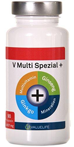 V Multi Spezial: 90 Multivitamin + Multimineral Kapseln - 22 Vitamine & Mineralien mit Extra Ginkgo Biloba & Ginseng in optimaler Bioverfügbarkeit für Körper und Geist! Beste Qualität Made in Germany (1x74g)