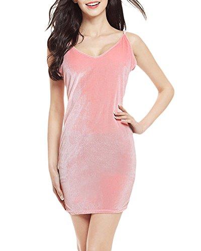 Femmes Sans Manches V Profond Harnais Crayon Robe Moulante Soirée Décolleté Style Halter Velours Nightclub Mini Robe Portefeuille pink