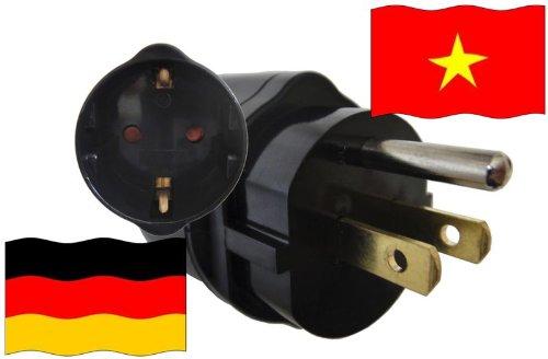 Adapter Vietnam Kindersicherung und Schutzkontakt für Geräte aus Deutschland 250V