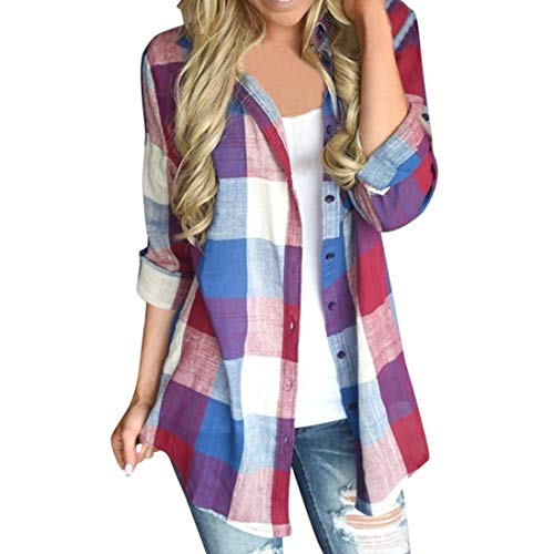 UFACE Damen Plaid Casual Button Langarm-Shirt Casual Passende Farbe Langarm Button Loose Plaid Shirt Bluse Top(Rot,EU/48CN/XL)