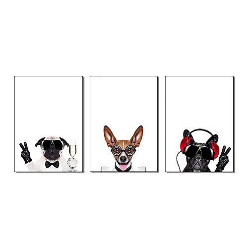 CVB Wandkunst Malerei Drucke auf Leinwand DREI Hunde-Gemälde mit Brille - mit Innenrahmen Painting Realism Home Mural Paintings,40x60cmx3