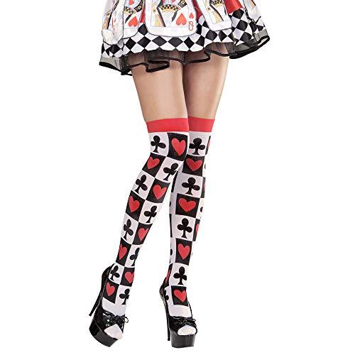 Widmann 01298 - Überkniestrümpfe mit Pokerkarten, Sonstige - Königin Der Herzen Kostüm Muster