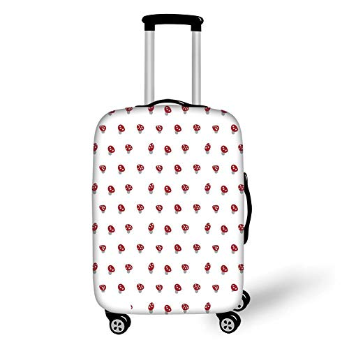 Suitcase Protector,Mushroom,Dotted Cute Little Mushrooms Simplistic Retro Style Pattern Childish Kids Design Decorative,Ruby White,for Travel XL ()