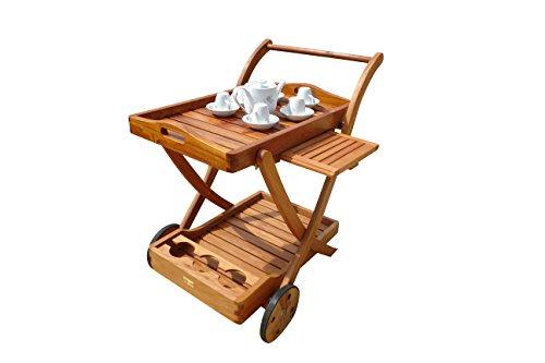 indoba® IND-70004-SW - Serie Sun Flair - Servierwagen aus Holz FSC zertifiziert - mit Rädern, Tablett abnehmbar
