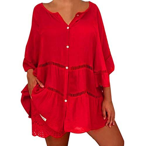 TYTUOO Tops für Damen Plus Size Solide Baumwolle und Leinen Aushöhlen V-Ausschnitt Pullover Tops Bluse Shirt - Knit Cropped Legging