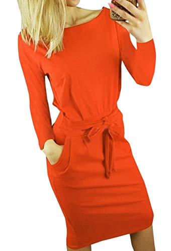 Ajpguot Damen Freizeit Kleid mit Gürtel Elegant Rundhals Midi Kleider Blusenkleider Ballkleid Festkleid Frauen Langarm Tasche Wickelkleider Abendkleider Partykleid, Rot, M