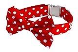 Noddy & Sweets Hundehalsband mit Fliege, handgefertigt, gepunktet, Rot