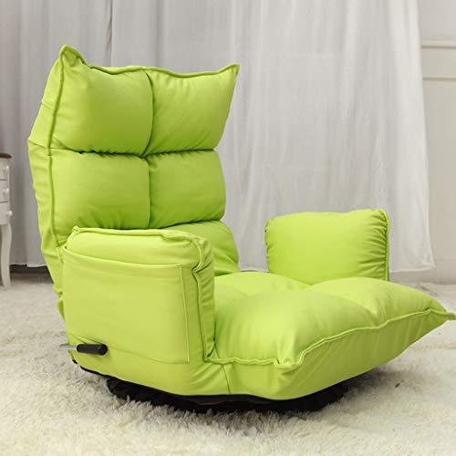 Multifunktionsbodenstuhl, drehbarer Sofa-Sessel, faltender fauler Stuhl Tatami (Farbe : Green)