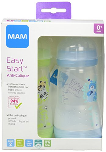 Mam 2 Anti-Colic Baby Bottles 260ml 0-6 Months - Colour : Transparent blue with patterns