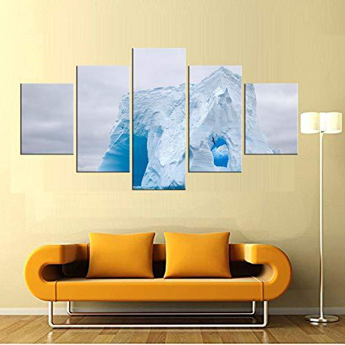 5 Pezzi Wall Art Canvas Fabric Poster Stampa Iceberg sul Mare per la Decorazione della Stanza Home Decor incorniciato
