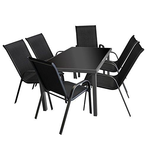 7tlg. Gartengarnitur Glastisch 150x90cm + 6x Stapelstuhl Textilenbespannung Schwarz - Sitzgarnitur Sitzgruppe Gartenmöbel Terrassenmöbel Set