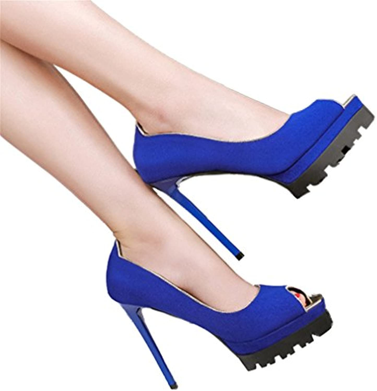 Xianshu Pez boca fondo grueso zapatos de tacón alto boca baja bombas estilete -