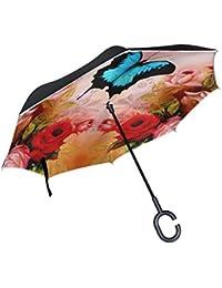 COOSUN La mariposa y de la capa doble Rosas del paraguas invertido inversa para el coche