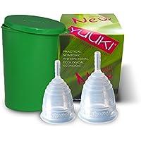 Menstruationstassen Yuuki-Set Soft S und L inkl. Reinigungs-Box Menstruationsbecher Menstruationskappe