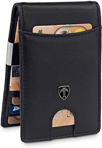 TRAVANDO ® Geldbeutel mit Geldklammer Rio - TÜV geprüft - Slim Design - 7 Kartenfächer - RFID Schutz - Ohne Münzfach - Das Original - inklusive Geschenk Box - Designed in Germany (Schwarz-Schwarz)