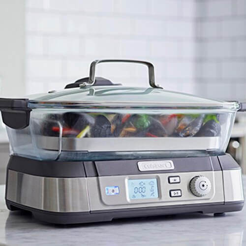 41WJCIS HpL. SS500  - Cuisinart Professional Glass Steamer   5L Capacity   Stainless Steel   STM1000U