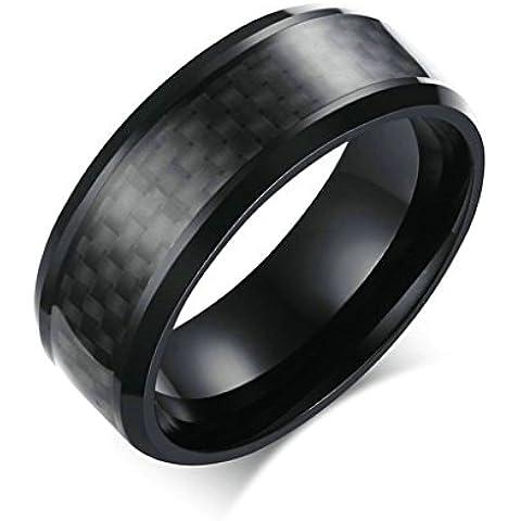Daesar Joyería Hombre Anillo Compromiso Acero Negro Carbón Fibra IP Negro Plata para Hombres Boda